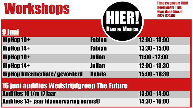 Workshops en audities Dans HIER! Tuk (Steenwijk)